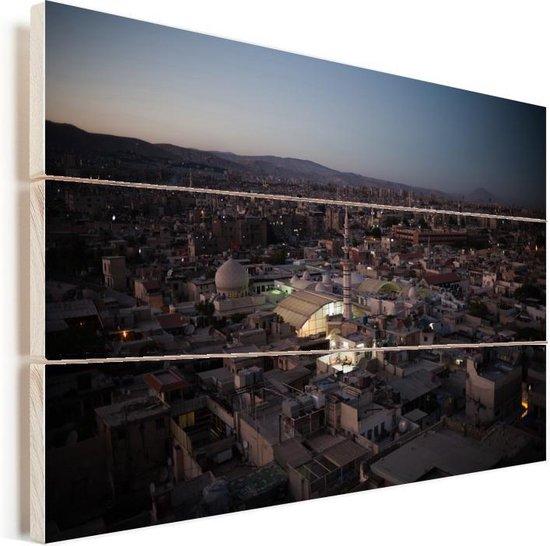 Avond valt op de Syrische hoofdstad Damascus Vurenhout met planken 30x20 cm - klein - Foto print op Hout (Wanddecoratie)