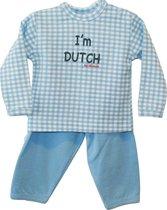 ISI Mini - Set 50/56 Broekje(Blauw) + Shirt(Blauw ruitje) Tekst: I'm Dutch