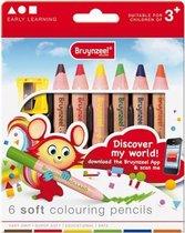 Bruynzeel Inspiring Young 6 extra zachte kleurpotloden met slijper