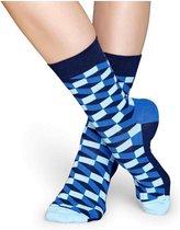 Happy Socks - Filled Optic - Blauw/Donkerblauw - Unisex - Maat 41-46