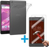 Sony Xperia XZ Ultra Dunne TPU silicone case hoesje Met Tempered glass Screen Protector Set