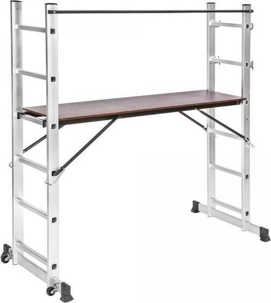 tectake 401668  Multifunctionele ladder - Steiger stelling - Werkhoogte 1m