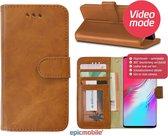 Epicmobile - Samsung Galaxy S10e Boek hoesje met pasjeshouder - Luxe portemonnee hoesje - Bruin
