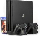 Konix - Koeling en Oplaad Stand - Playstation 4 Slim - Playstation 4 Pro - Zwart