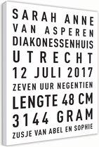 Geboorte tekst canvas - wit - 30x45cm