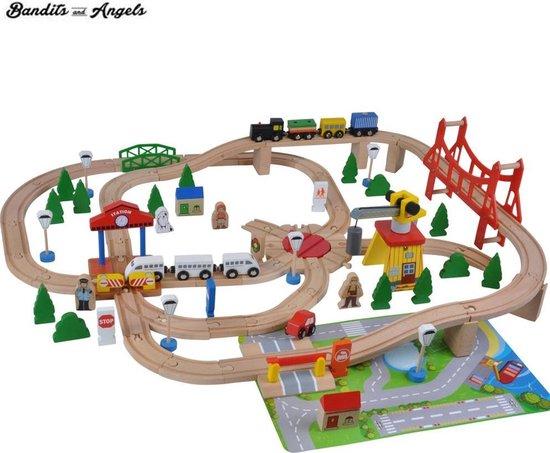 Afbeelding van Houten treinset 100 dlg met grondplaat speelgoed