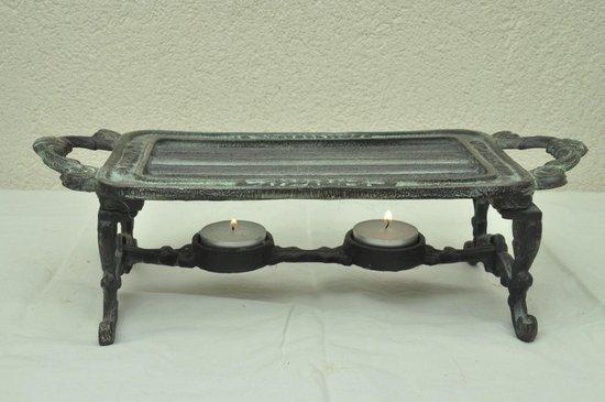 KOM Amsterdam French Kitchen Collection rechthoekig rechaud 2 waxine lichthouder - 32x14 cm - donker gietijzer