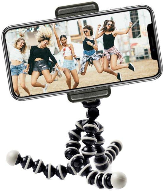 Flexibel mini-statief met extra flexibele poten – voor smartphone en GoPro – met telefoonhouder – octopus tripod Zwart/Wit