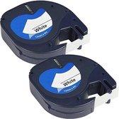 Dymo Label Tape 91201 - 12 mm x 4 m Plastic Tape voor Dymo LetraTag LT-100H/LT-100T/LT-110T/QX 50/XR/XM/2000 - 2 stuks