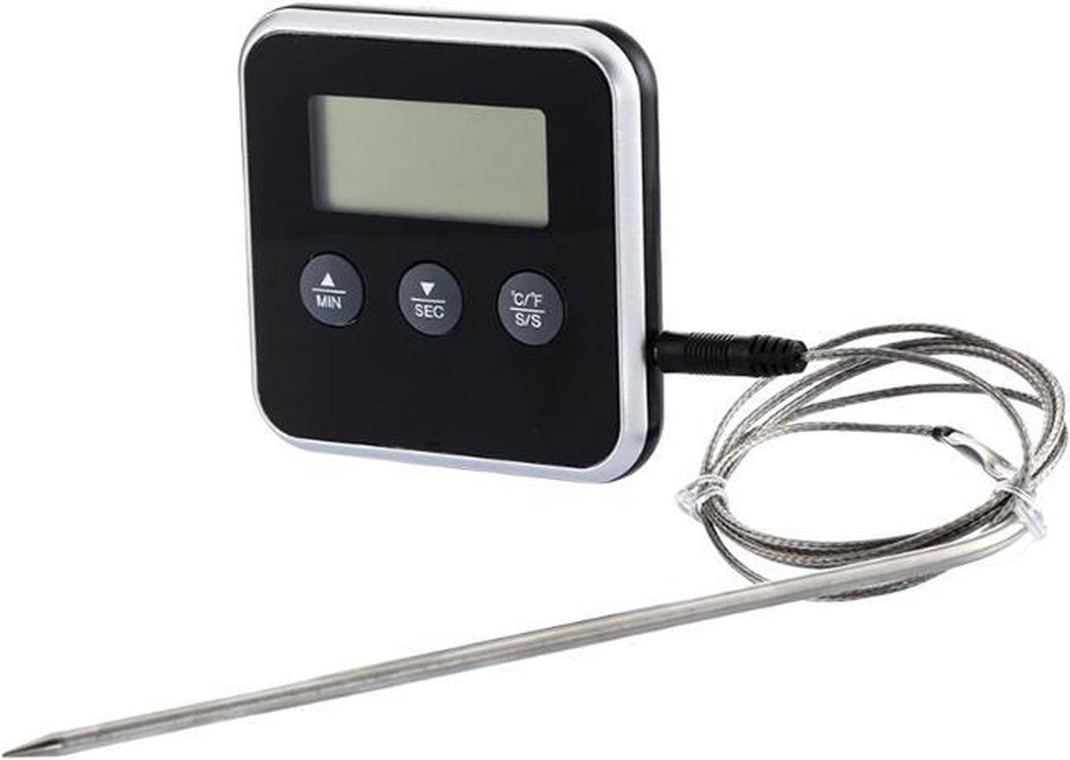 DW4Trading® Digitale oven braad thermometer met losse sensor zwart