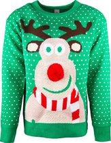JAP Foute kersttrui - Rudolf met 3D neus voor volwassenen - Dames en heren - XL - Groen