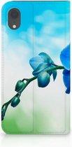 Flipcover iPhone Xr Design Orchidee Blauw