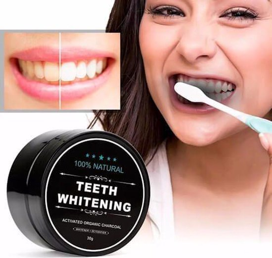 Natural Teeth Whitening Bamboo Activated Charcoal Tandenbleker - 30 gr