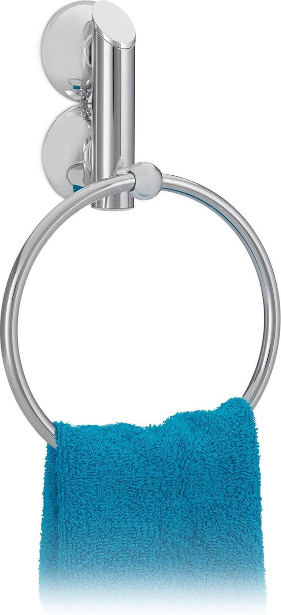 relaxdays - handdoekhouder rond - zuignap - zilver - zonder boren - handdoekrek