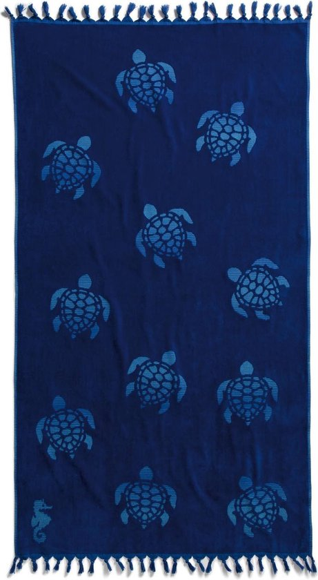 Seahorse Tartaruga - Strandlaken Hamam - 100 x 180 cm - Ocean Blue