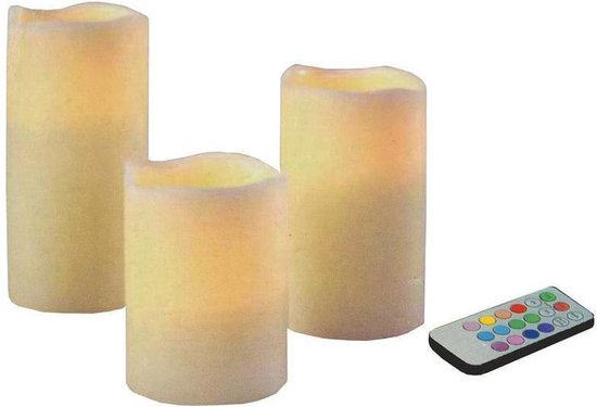 Arti Casa LED  wax kaarsenset - 3 stuks - Rood/Groen/Blauw