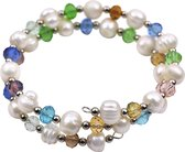 Zoetwater parel armband Multi Glass Pearl