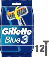 Gillette Blue3 - 12 Stuks - Wegwerpscheermesjes