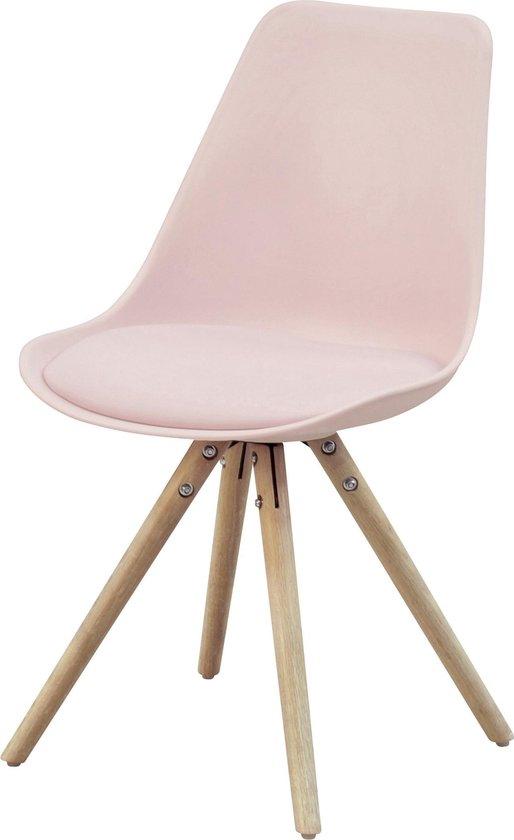 Essence Legno pastel kuipstoel - Roze zitting - Houten onderstel