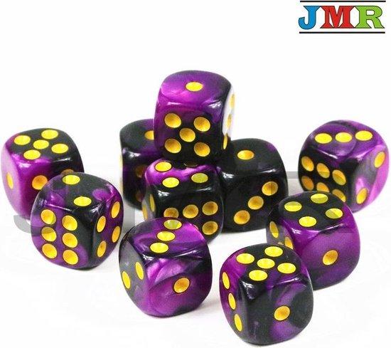 Afbeelding van het spel 10x Mini dobbelsteen paars/zwart | Dobbelspel