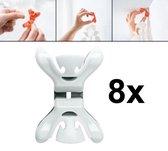 8x Slingers/decoratie ophangen slingerklemmen wit
