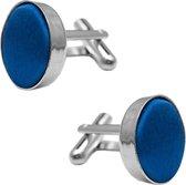 Fako Bijoux® - Manchetknopen - Staal & Zijde - Ø 16mm - Royal Blauw