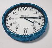 Leer klokkijken-leerzame kinder klok- glitter wandklok blauw/wit 20 cm