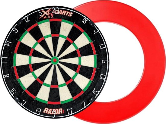Dragon darts - XQ Max Razor 1 PRO - dartbord - inclusief - dartbord surround ring - rood - dartbord bescherm ring