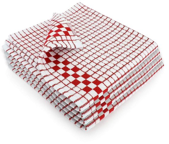 Fecido Classic Kitchen Tea Towels with Hanging Loop - Set of 4, Red