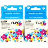 FLWR - Inktcartridge / PG-512 / CL-513/ Zwart & Kleur 2-Pack - Geschikt voor Canon