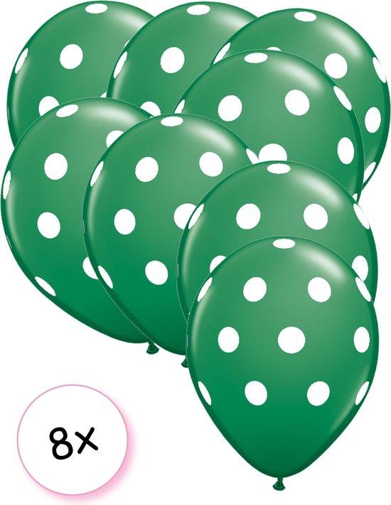 Ballonnen dots appeltjes groen - wit 8 stuks 30 cm