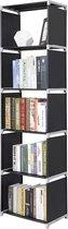 Staande Kolom Kast met 5 Schappen voor Woonkamer Living of Slaapkamer – 180 cm Hoog en 50 cm Breed – Zwart