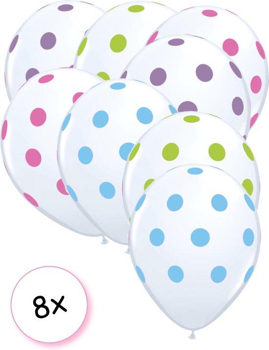 Ballonnen Dots Transparant/multi 8 stuks 32cm