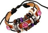 Fako Bijoux® - Armband - Leder - Fuchsia
