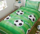 1 persoons jongensdekbedovertrek voetbal met goal groen