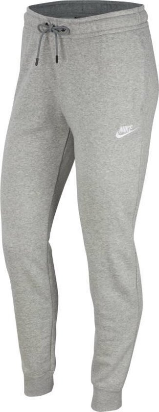 Nike Nsw Essntl Pant Reg Flc Dames Joggingbroek - Dk Grey Heather/(White) -  Maat L