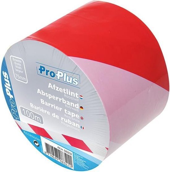 Proplus Afzetlint Rood/wit 100 Meter - ProPlus
