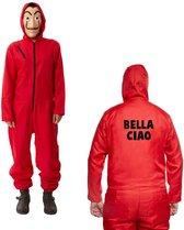 "Carnaval la casa de papel rode overall party kostuum outfit met ""bella ciao"" opdruk + Masker - XL/XXL"