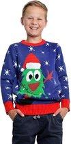 Blauwe kerst trui met kerstboom voor kinderen 7/8 jaar (128/134)