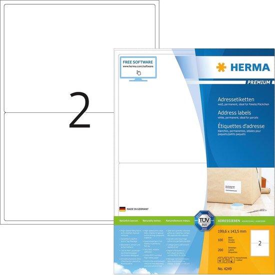 HERMA Adress-etiketten wit 199.6x143.5 Premium A4 200 st.