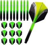 ABC Dart Flights en Darts Shafts Medium - Tribal groen - 3 sets