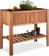 relaxdays - minigarden dennenhout met plank - kweektafel - bloembak op poten