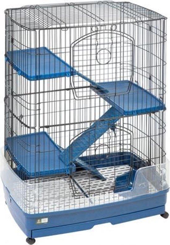 Flamingo Frettenkooi Tower - Blauw/Zwart - 108 x 55 x 80 cm