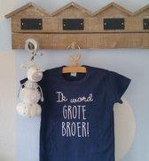 Merkloos Aankondiging bekendmaking zwangerschap tekst grote broer Baby T-shirt 92