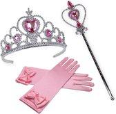 Prinsessen Roze Accessoireset - Toverstaf - Tiara - Kroon - Lange Roze Elleboog Handschoenen - Verkleedaccessoire