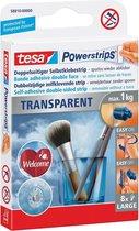 10x Tesa kleefstrip Powerstrips, draagkracht 1 kg, transparant, blister a 8 stuks