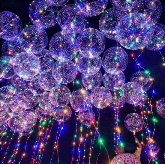 Bobo Ballonnen | Led-licht | 4 kleuren | Transparante balonnen | Versiering | Feest | Ballon | Lichtjes | Lampjes | Feestdagen