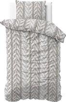 Zensation Flanel Knitted - Dekbedovertrekset - Eenpersoons - 140x200/220 + 1 kussensloop 60x70 - Grijs