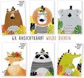 wenskaarten - kaartenset - ansichtkaarten - Wilde dieren- Verjaardag - 6 stuks