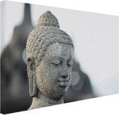 Boeddha hoofdbeeld steen Canvas 80x60 cm - Foto print op Canvas schilderij (Wanddecoratie woonkamer / slaapkamer)